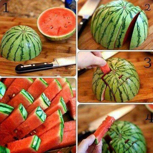 как красиво нарезать арбуз фото